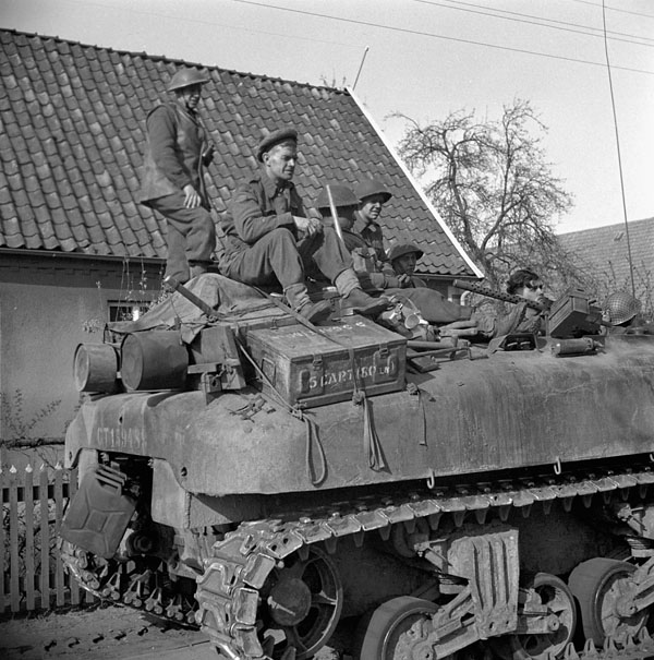 Infantrymen of the Argyll and Sutherland Highlanders of Canada riding on a Kangaroo armoured personnel carrier, Wertle, Germany, 11 April 1945.