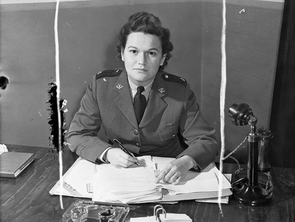 An unidentified member of the Canadian Women's Army Corps (C.W.A.C.), England, 19 July 1944.