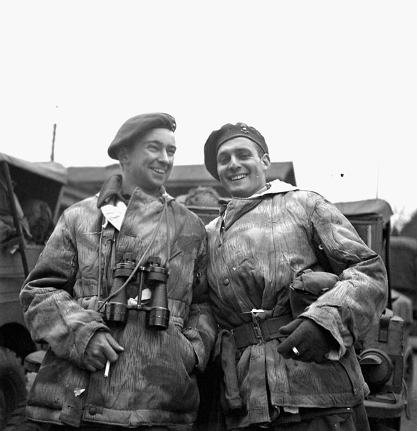 Captains S.A. Mooney and I.C. Stewart, Forward Observation Officers attached to the 6th Airborne Division, British Army, Greven, Germany, 5 April 1945.