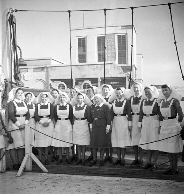 Nursing sisters of the Royal Canadian Army Medical Corps (R.C.A.M.C.) aboard the hospital ship LADY NELSON, Naples, Italy, 29 January 1944.
