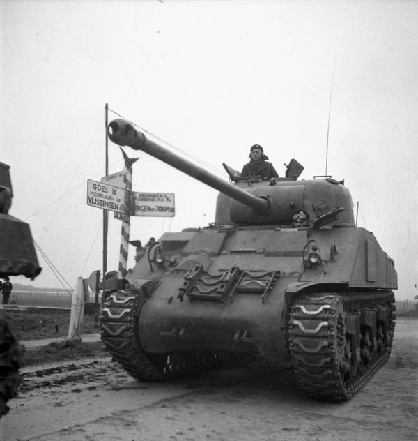 A Sherman Vc Firefly tank of The Fort Garry Horse near the Beveland Canal, Netherlands, ca. 29 October 1944.