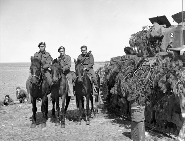 Troopers of Lord Strathcona's Horse (Royal Canadians) on horseback, Harderwijk, Netherlands, 19 April 1945.