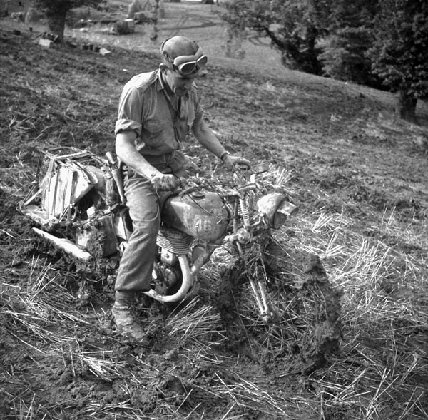 An unidentified Canadian despatch rider near Campobasso, Italy, October 1943.