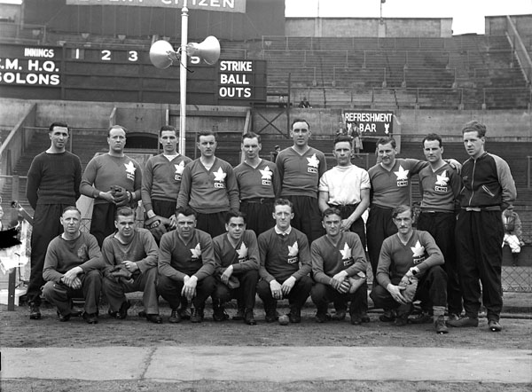 Members of the Canadian Military Headquarters (CMHQ) team which represented Canada in a Canada - United States baseball game at Wembley Stadium, London, England, 3 June 1944.