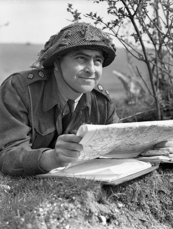 Lieutenant-Colonel Foster M. Matheson, Commanding Officer, Regina Rifle Regiment, during a training exercise, Southampton, England, 14 April 1944.