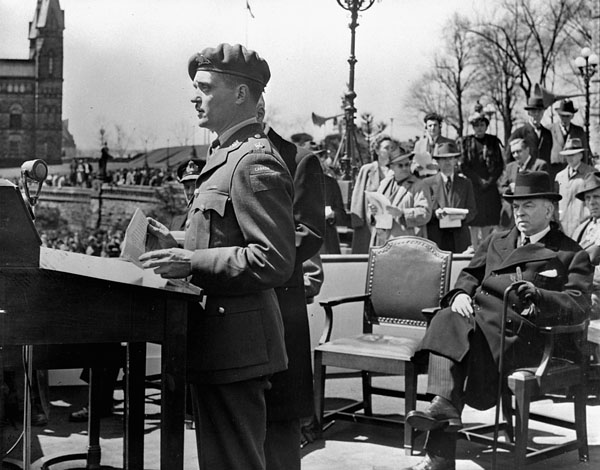 Major Paul Triquet, V.C., Royal 22e Régiment, speaking at the opening of the 6th Victory Loan campaign, Ottawa, Ontario, Canada, 22 April 1944.