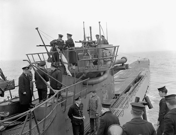 German submarine U-889 surrendering to the Fairmile motor launch Q117 of the Royal Canadian Navy off Shelburne, Nova Scotia, Canada, 13 May 1945.