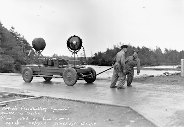 Portable floodlighting equipment,  No.4(BR) Squadron, Royal Canadian Air Force (R.C.A.F.), Ucluelet, British Columbia, Canada, 26 November 1940.