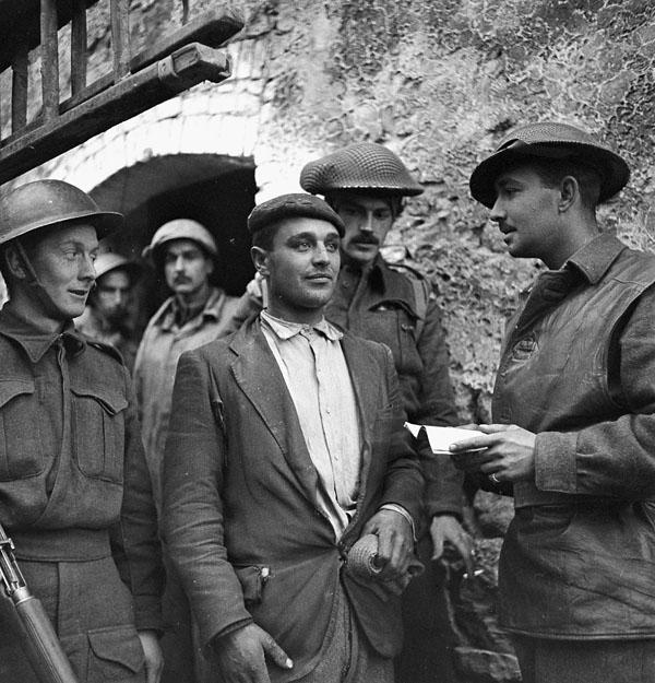 Interrogation of a German soldier who entered San Leonardo di Ortona, Italy, in civilian clothes, 13 December 1943.