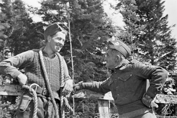 Personnel of an unidentified company of the Canadian Forestry Corps, Scotland, May 1941.