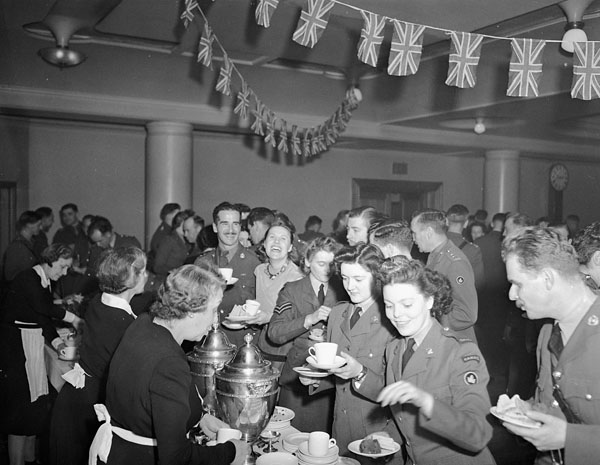 First annual reunion of CANLOAN officers, Royal Empire Society, London, England, 14 April  1945.