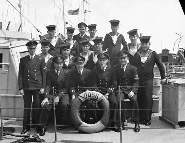 Ship's Company, H.M.C.S. ML-058, Halifax, Nova Scotia, Canada, 6 June 1945.