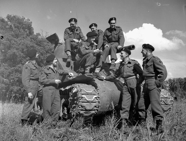 Personnel with the Sherman tank