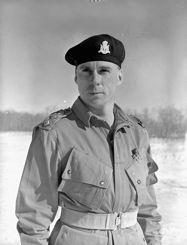 An unidentified officer at A35 Canadian Parachute Training Centre, Camp Shilo, Manitoba, Canada, 20 March 1945.