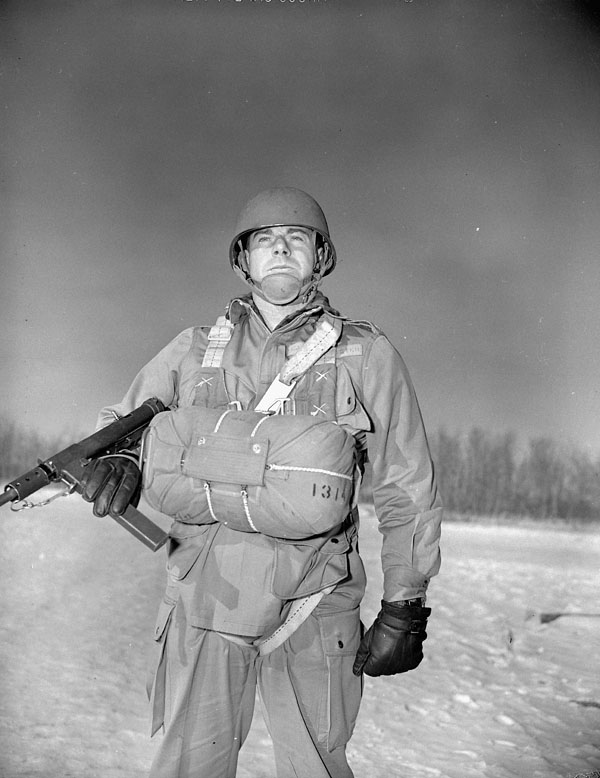 An unidentified parachute candidate at A35 Canadian Parachute Training Centre, Camp Shilo, Manitoba, Canada, 20 March 1945.