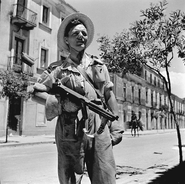 Private Harry McDowell, 48th Highlanders of Canada, Caltagirone, Italy, ca. 2-3 August 1943.