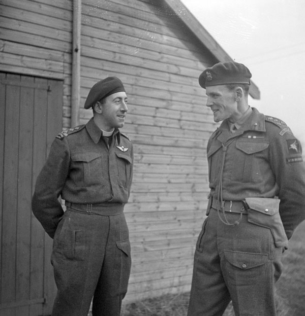Army chaplain H/Captain G.A. Harris (left) talking with Brigadier S. James L. Hill, Commander, 3rd Parachute Brigade, 6th Airborne Division (British Army), Carter Barracks, Bulford, England, December 1943.