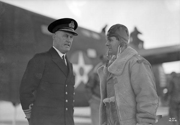 Admiral Sir Humphrey Walwyn (left), Governor of Newfoundland, at R.C.A.F. Station, Gander, Newfoundland, 14 October 1941.