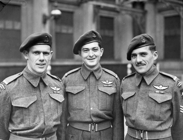 Non-commissioned officers of the 1st Canadian Parachute Battalion, each of whom was decorated with the Military Medal during an investiture at Buckingham Palace, London, England, 31 October 1944.