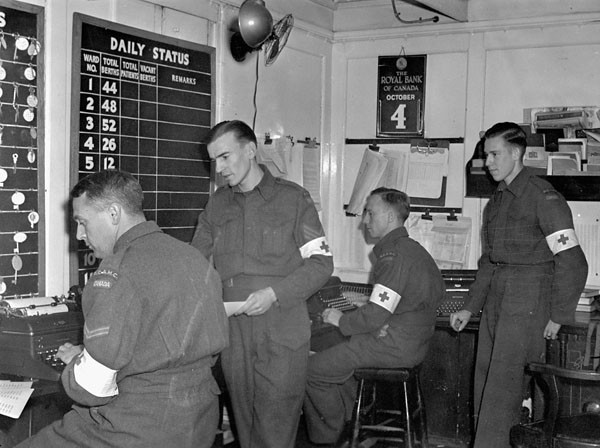 Personnel of the Royal Canadian Army Medical Corps (R.C.A.M.C.) aboard the hospital ship S.S. LADY NELSON, England, 4 October 1943.