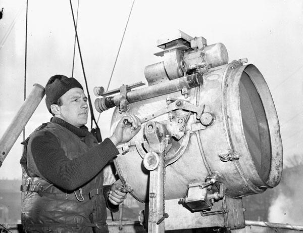 Signalman Ken Worsencroft, Royal Canadian Naval Volunteer Reserve (R.C.N.V.R.), H.M.C.S. WASKESIU, Halifax, Nova Scotia, Canada, April 1944.