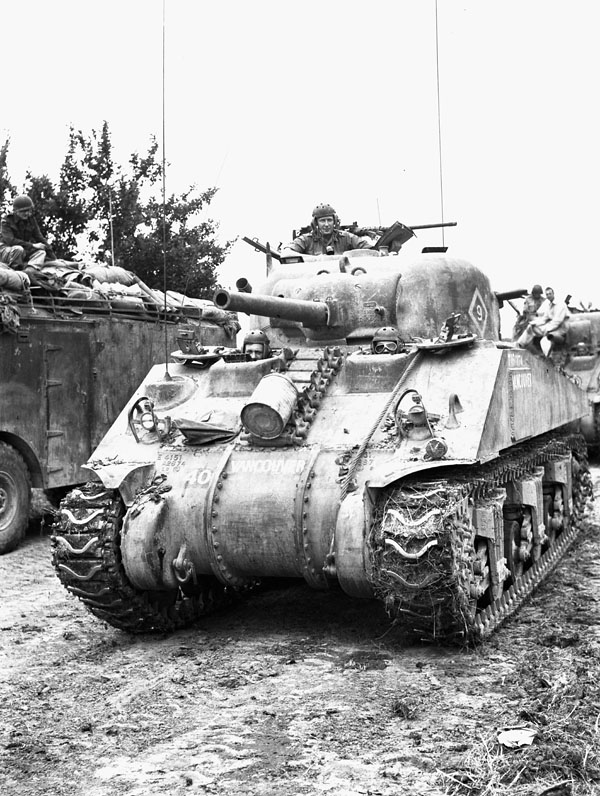 Major-General B.M. Hoffmeister, General Officer Commanding 5th Canadian Armoured Division, in the Sherman tank