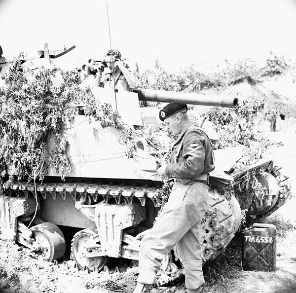 A Sherman tank of the Ontario Regiment during the advance towards Rome, Italy, 12 May 1944.