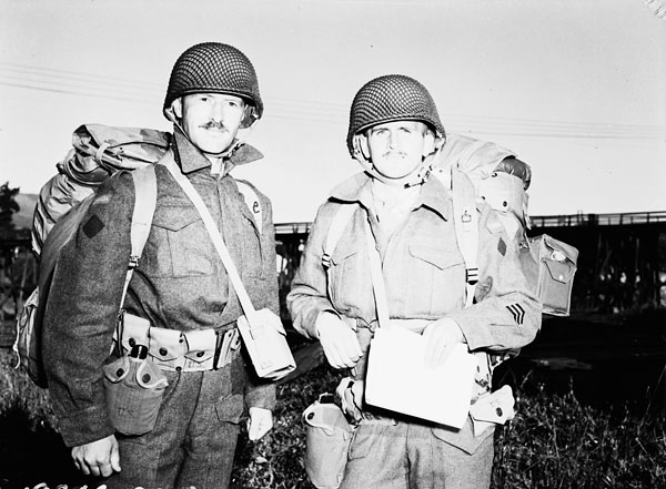 Unidentified personnel of the 13th Infantry Brigade Group taking part in Operation Cottage, the attack on Kiska. British Columbia, Canada, July 1943.