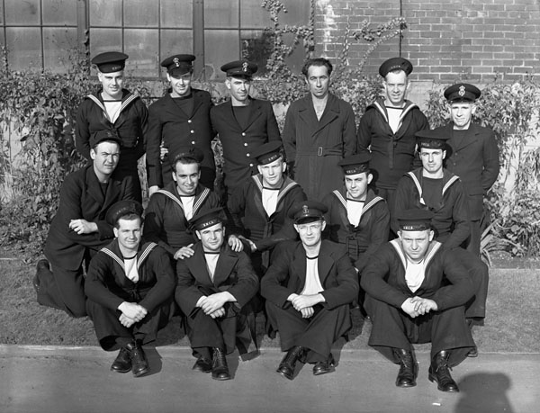 Members of the ship's company from Ontario who survived the sinking of H.M.C.S. OTTAWA, which was torpedoed by the German submarine U-91 on 14 September 1942. St. John's, Newfoundland, 24 September 1942.
