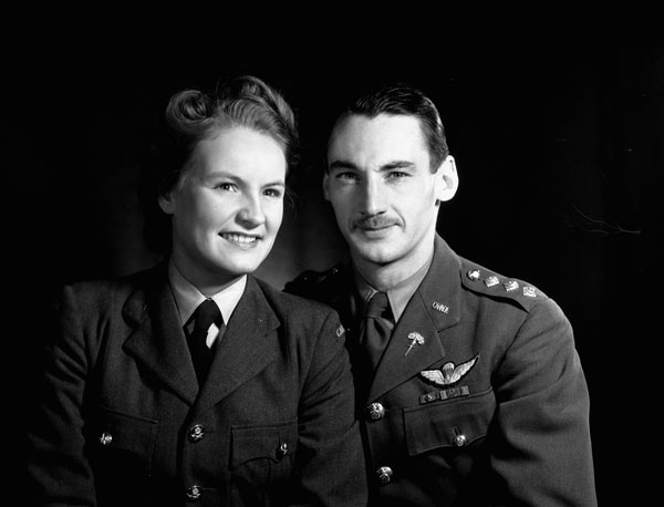 Captain Lionel Guy D'Artois, who served with the 1st Canadian Parachute Battalion, the First Special Service Force and with the Special Operations Executive (British Army), with Mrs. D'Artois, London, England, ca. 1944-1945.