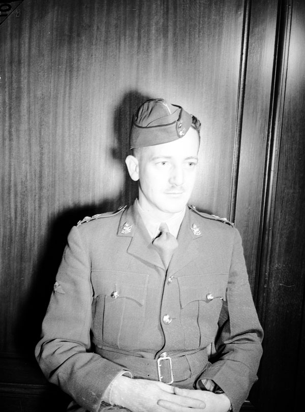 Lieutenant-Colonel G.F.P. Bradbrooke, the newly-appointed Commanding Officer of the 1st Canadian Parachute Battalion, at the Canadian Building, Ottawa, Ontario, Canada, 29 October 1942.