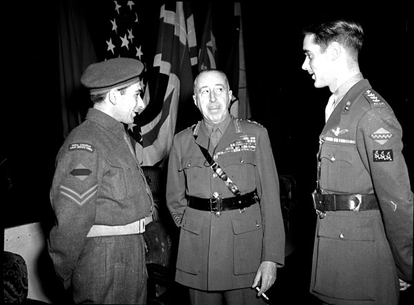 General H.D.G. Crerar attending an investiture at the Civic Auditorium, Winnipeg, Manitoba, Canada, 13 January 1946.