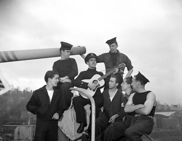 Personnel of The Navy Show visiting H.M.C.S. LEASIDE, England, January 1945.