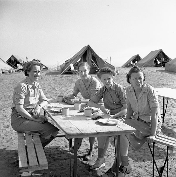 Nursing sisters of No.15  Canadian General Hospital, Royal Canadian Army Medical Corps (R.C.A.M.C.), El Arrouch, Algeria, 15 July 1943.