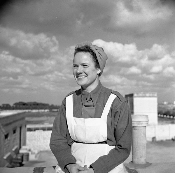 Nursing Sister Elaine Wright, No.1 Canadian General Hospital, Royal Canadian Army Medical Corps (R.C.A.M.C.), Andria, Italy, February 1944.