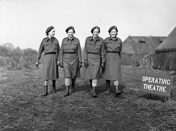 Unidentified Nursing Sisters of No.6 Casualty Clearing Station, Royal Canadian Army Medical Corps (R.C.A.M.C.), England, 11 October 1943.