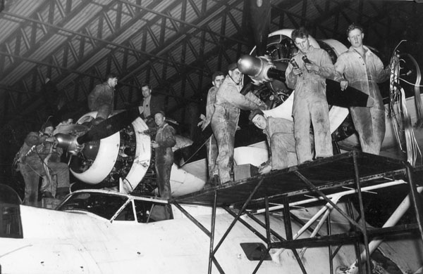 Groundcrew servicing Consolidated Canso A aircraft 9739 of No.162 (BR) Squadron, R.C.A.F., Reykjavik, Iceland, 8 September 1944.
