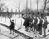MIKAN 3385507 (Curling) Curling match at 5th Infantry Brigade H.Q. Cheering the winning team. January, 1919. 1914-1919 [(Curling) Curling match at 5th Infantry Brigade H.Q. Cheering the winning team. January, 1919., 1914-1919]