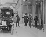 MIKAN 3216975 Major-General Sir Sam Hughes leaving the Palace after interviewing the French President. August, 1916. [Major-General Sir Sam Hughes leaving the Palace after interviewing the French President., August, 1916.]