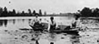 MIKAN 3192176 Unidentified women gathering waterlilies from a boat in the Rideau River. ca. 1900 - 1910 [45 KB, 640 X 284]