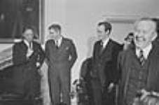 Pierre Elliott Trudeau, John Turner, Jean Chrétien and Prime Minister Lester B. Pearson following Cabinet changes. 4 Apr. 1967 [31 KB, 640 X 422]