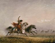 """MIKAN 2895264 Femme de la tribu des """"Shoshonie"""" qui lance le lasso. 1867 [Femme de la tribu des 'Shoshonie' qui lance le lasso., 1867]"""