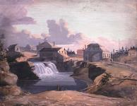 MIKAN 2836987 A View of the Mill and Tavern of Philemon Wright at the Chaudière Falls, Hull   1823 [A View of the Mill and Tavern of Philemon Wright at the Chaudière Falls, Hull, 1823]