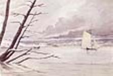 """MIKAN 2836249 """"Ice Boat"""" at Penetanguishene, Lake Huron. ca. 1845 [52 KB, 640 X 431]"""