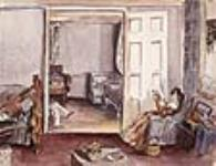 MIKAN 2836911 The Drawing Room at the Seigneury House, Beauharnois, Lower Canada / Le salon du Manoir de Beauharnois, Bas-Canada. 10 July - 12 November 1838 [The Drawing Room at the Seigneury House, Beauharnois, Lower Canada / Le salon du Manoir de Beauharnois, Bas-Canada., 10 July - 12 November 1838]