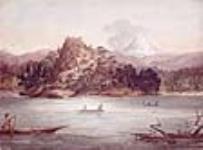 MIKAN 2896764 Le mont Coffin et le mont St. Helens, vus du fleuve Columbia, Washington. septembre 13, 1845 [Le mont Coffin et le mont St. Helens, vus du fleuve Columbia, Washington., septembre 13, 1845]