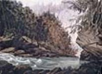 MIKAN 2896745 Au pied des rapides en aval de la chute, rivière Saint-Charles, à la Jeune-Lorette. 1842 [84 KB, 640 X 467]