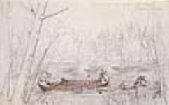 MIKAN 2896754 Le lancement du cordage : halage d'un canot dans les rapides de la rivière des Outaouais. ca mai 8, 1845 [56 KB, 640 X 396]