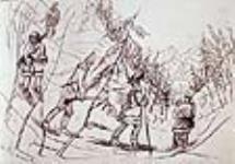 MIKAN 2896739 Sur la piste : Tomaqua, Jenkinson, Zavier et moi-même, rivière Saint-Maurice. mars 18, 1842 [115 KB, 640 X 445]