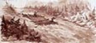 MIKAN 2834177 Lumbermen's raft descending a rapid. 1842 [56 KB, 640 X 287]